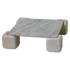 Polished Carrara Marble Coffee Table with Tonal White Concrete Pillars
