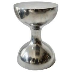 Polished Cast Aluminum Hourglass Side Table or Pedestal