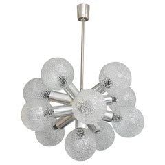 Polished Chrome and Bubble Glass Chandelier