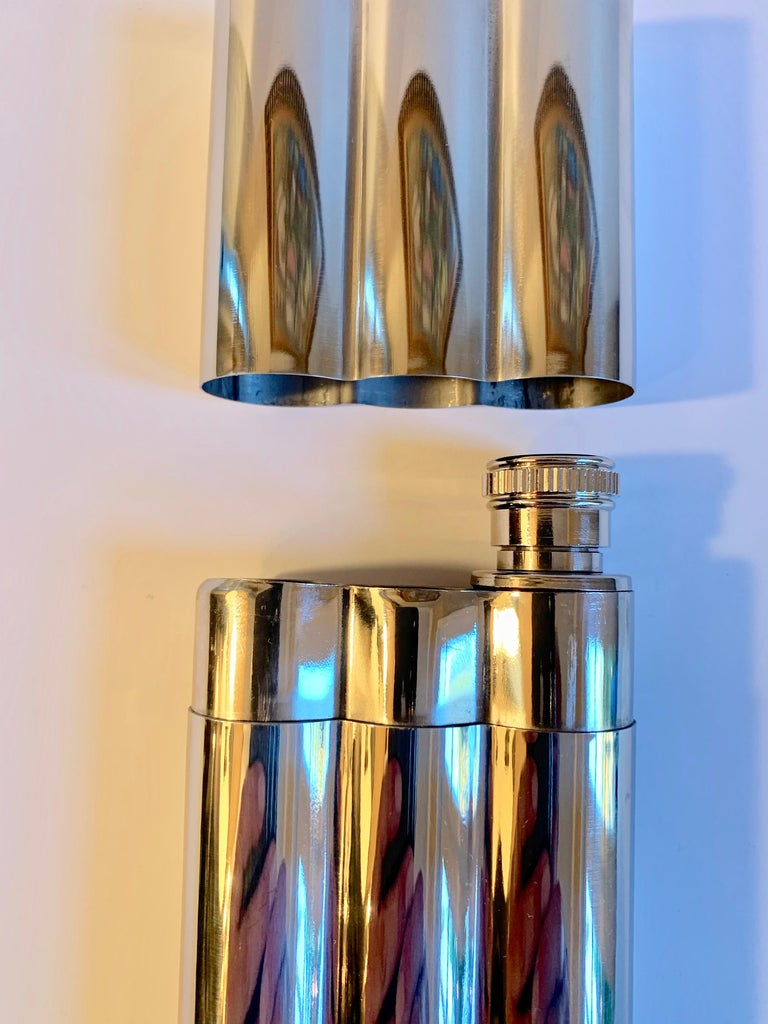 Polished Chrome Cigar Holder with Flask For Sale 1