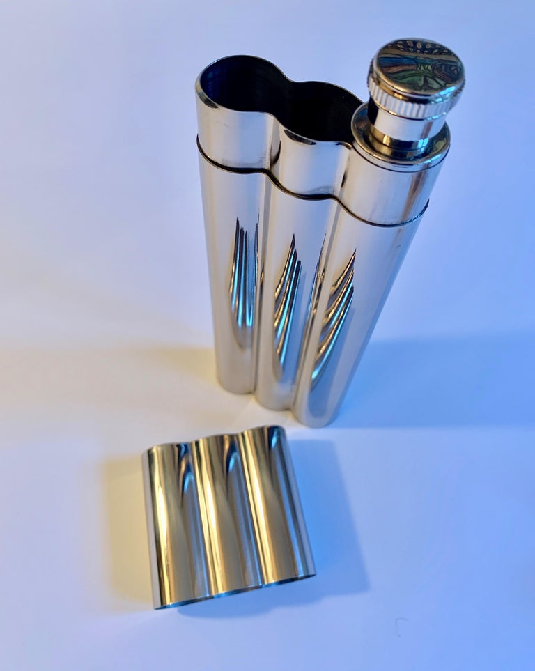 Polished Chrome Cigar Holder with Flask For Sale 2