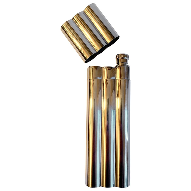 Polished Chrome Cigar Holder with Flask For Sale