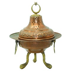 Polished Copper Footed Incense Burner with Crescent Moon and Star