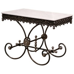Polished French Iron Butcher or Pastry Table with Marble Top and Metal Finials