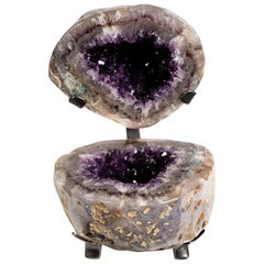 Polished Geode Split in Two with Amethyst and Calcite Inside and Agate Outside