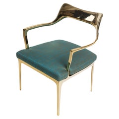 Polished Gold Bronze Bruda Armchair with Marine Green Blue Upholstery