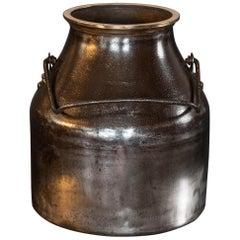 Polished Iron and Brass Bound Milk Churn, Late 19th Century