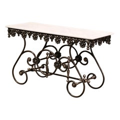 Polished Iron Butcher Pastry Table with Marble Top from France