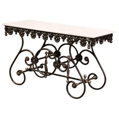 Polished Iron Butcher Pastry Table with White Marble Top from France
