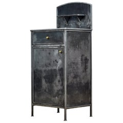 Polished Iron Nightstand with Brass Details, 1910's