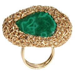 Polished Malachite in Yellow Gold Statement Cocktail Ring by Sheila Westera