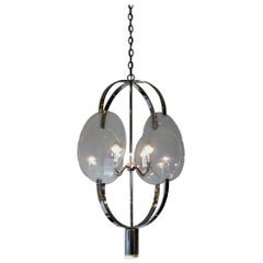 Polished Nickel and Lucite Pendant Chandelier by Charles Hollis Jones