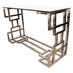 Polished Nickel Geometric Design Console Table