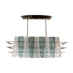 Polished Nickel Linear Chandelier with Triangular Textured Blue and Clear Glass