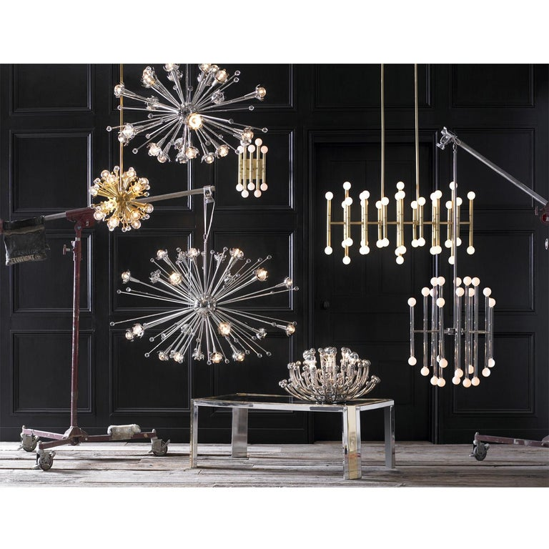 Modern Polished Nickel Mini Sputnik Chandelier For Sale