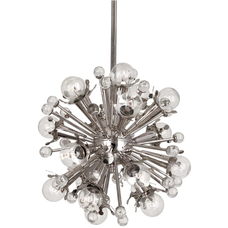 Polished Nickel Mini Sputnik Chandelier For Sale