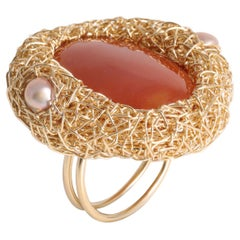 Polished Oval, Natural Carnelian and Pink Pearl Gold Cocktail Statement Ring