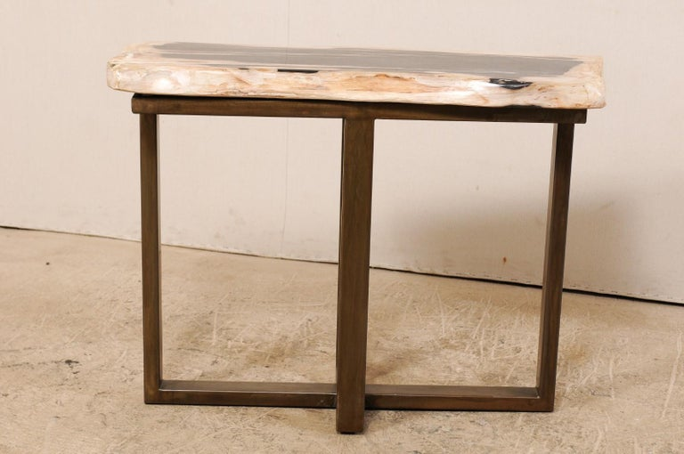 Polished Petrified Wood Console Table with Modern Iron Base For Sale ...