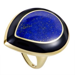 Polished Rock Candy 18 Karat Yellow Gold Lapis and Onyx Large Teardrop Ring