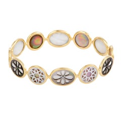 Polished Rock Candy 18 Karat Yellow Gold Mother of Pearl Bangle Bracelet