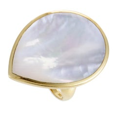Polished Rock Candy 18 Karat Yellow Gold Mother of Pearl Teardrop Ring