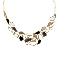 Polished Rock Candy 18 Karat Yellow Gold Multi-Colored Stones Bib Necklace