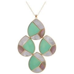 Polished Rock Candy 18 Karat Yellow Gold Multicolored Stone Teardrop Pendant