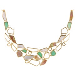 Polished Rock Candy Large 18 Karat Yellow Gold Multicolored Stone Bib Necklace