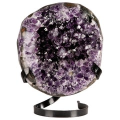 Circular Polished Amethyst Formation - Vibrant Mineral Art