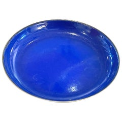 Polished Stainless Steel and Navy Blue Enamel Low Bowl by Catherine Holm