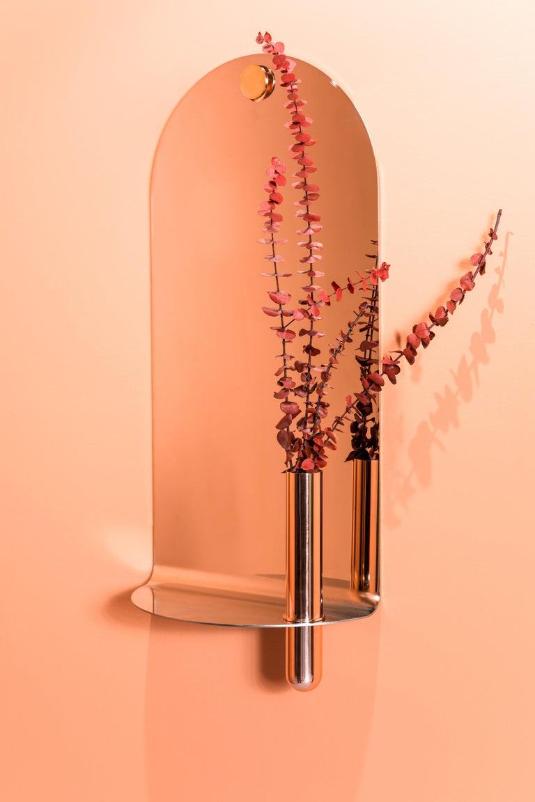 Contemporary Polished Stainless Steel Mirror with Brushed Brass Vase by Birnam Wood Studio For Sale
