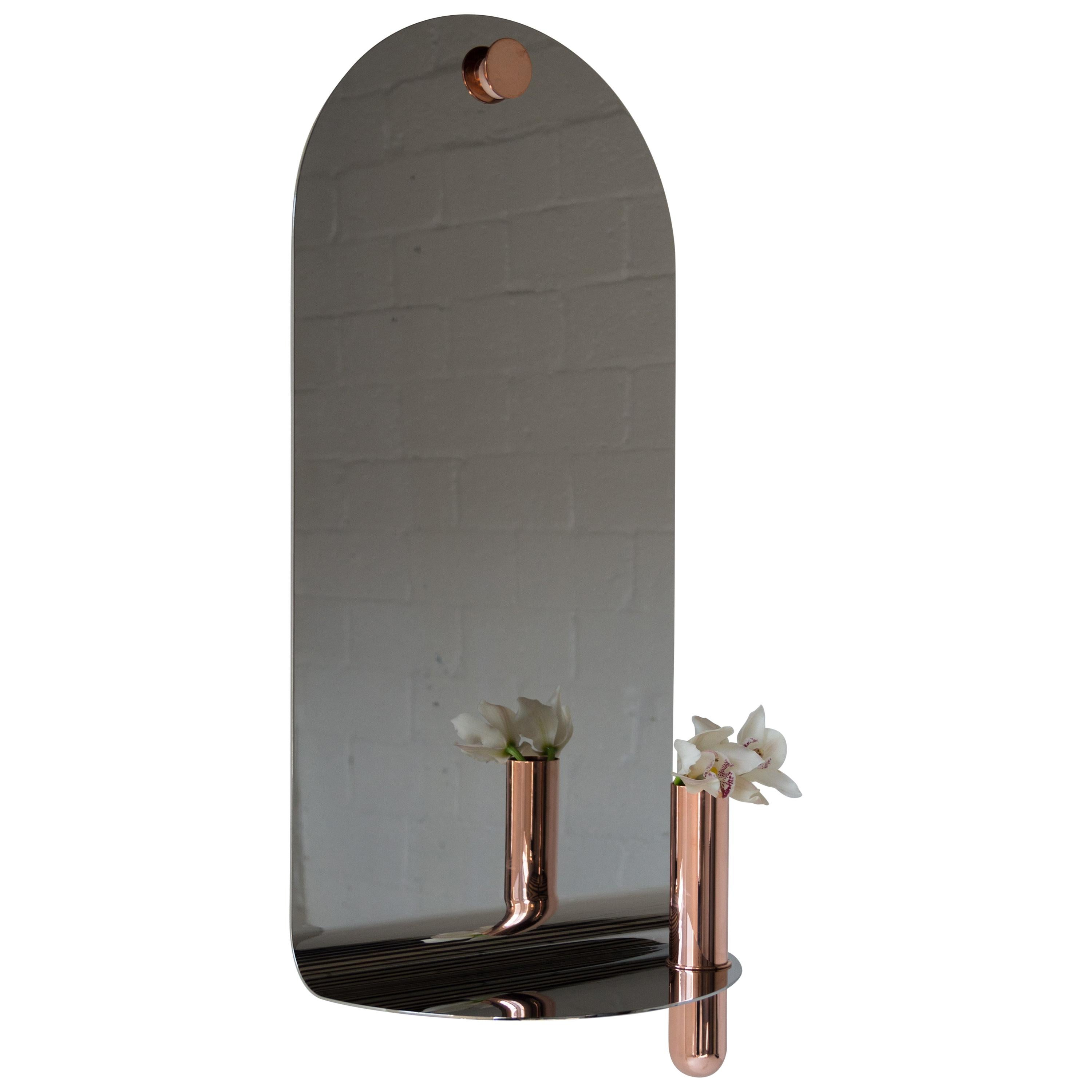 Polished Stainless Steel Mirror with Brushed Brass Vase by Birnam Wood Studio
