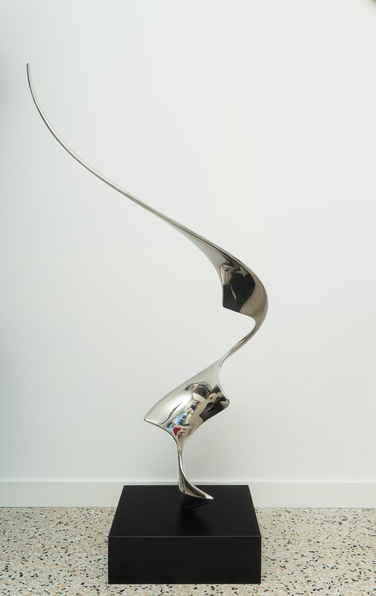 Mid-Century Modern Polished Stainless Steel Sculpture For Sale