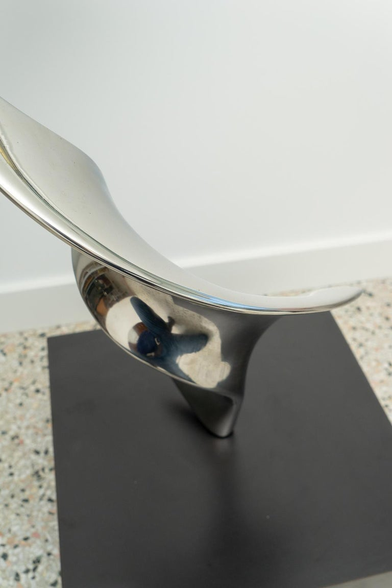 Polished Stainless Steel Sculpture For Sale 2
