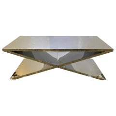 Polished Stainless Steel X-Form Cocktail Table