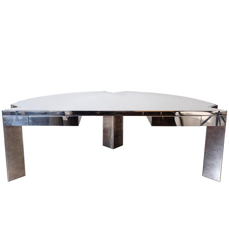 "Polished Steel ""Mezzaluna"" Desk by Leon Rosen for Pace, 1970s For Sale"