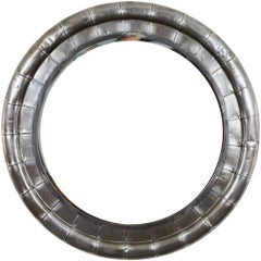 Polished Steel Round Mirror