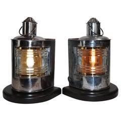 Polished Steel Ships Port and Starboard Lanterns