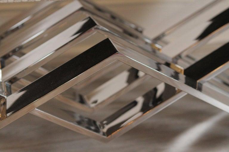 Mid-Century Modern Polished Steel Zig Zag Bench For Sale