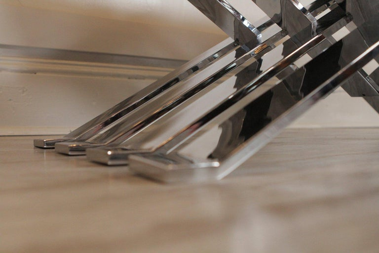 American Polished Steel Zig Zag Bench For Sale