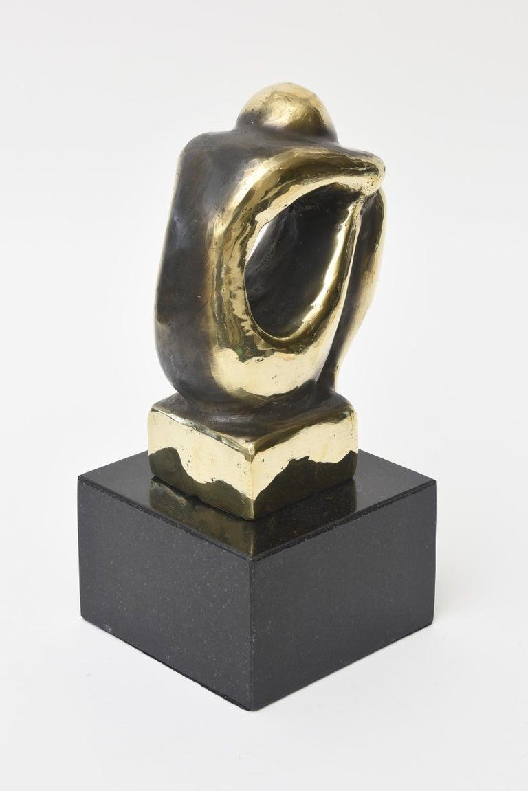 Brass and Granite Seated Sculpture Desk Accessory Vintage In Good Condition For Sale In North Miami, FL