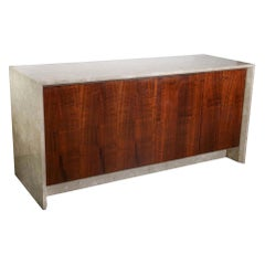 Polished White, Tan and Brown Travertine Marble and Rosewood Two-Sided Sideboard