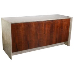 Polished White, Tan & Brown Travertine Marble and Rosewood Two-Sided Sideboard