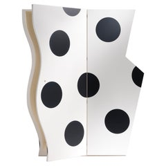 Truman Polka Dot Black & White Cabinet in Lacquered Finish, Drawers and Shelves