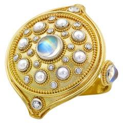 Polka Dot Mandala, a Kent Raible Hand Ornament 18K Gold, Platinum Cocktail Ring