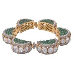 Polki Diamond Semi Precious Gold Bracelet