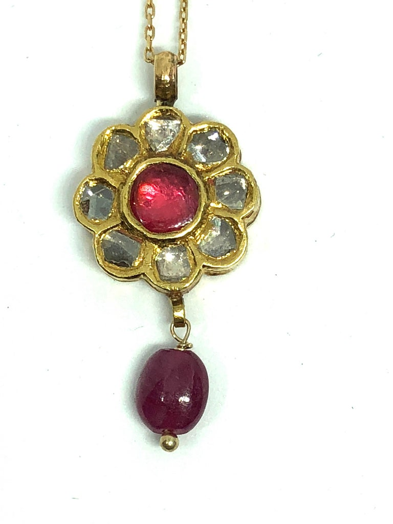 Rose Cut Polki Diamonds and Ruby 22 Karat Gold Necklace For Sale