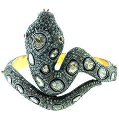Polki Snake 14.66 Carat Diamond 0.18 Carat Ruby Bangle in Silver, 14 Karat Gold