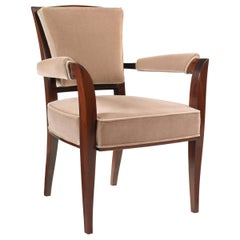 Pollaro Armchair in Sapele and Bisque Velvet Inspired by Maison Dominique