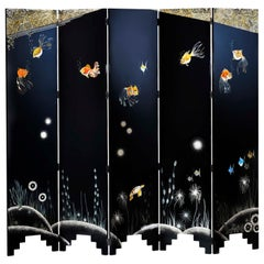 Pollaro Coquille D'Oeuf & Lacquer Goldfish Motif Screen Inspired by Jean Dunand